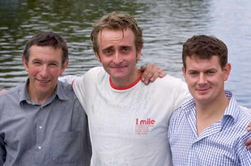 Mark Edwards (boatmaker), Tim, and Thomas Crapper at the boat launch